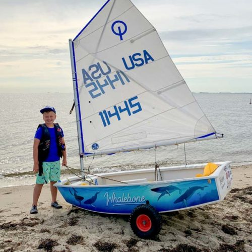 OptiWraps full side Optimist Sailing Dinghy Wrap with underwater whale scene